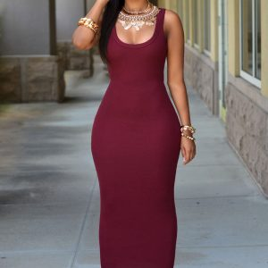 Wine red maxi sundress