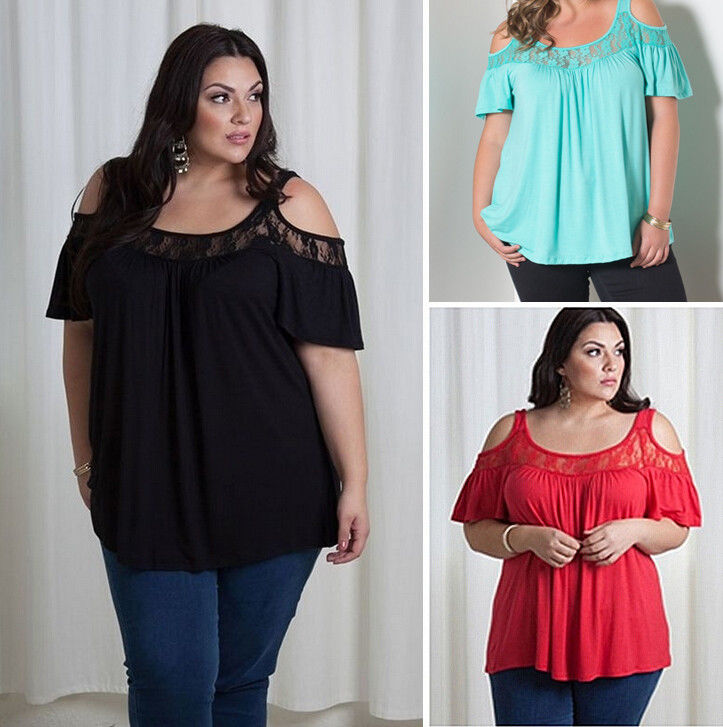 d66e3643cce25 ... LACE DESIGN COLD SHOULDER PLUS SIZE BLOUSE Return to Previous Page.  New. lightbox · lightbox