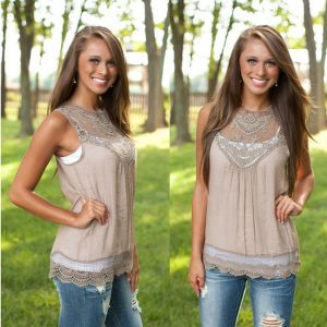 khaki summer cool lace top
