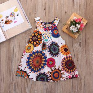 printed color kids summer dress