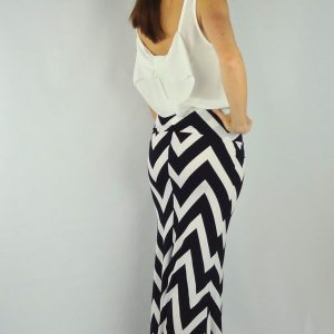white black chevron maxi skirt
