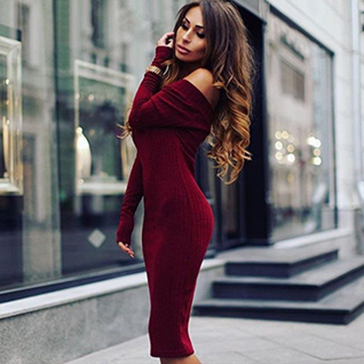 Off Shoulder Ribbed Sweater Dress Addicted2fashion