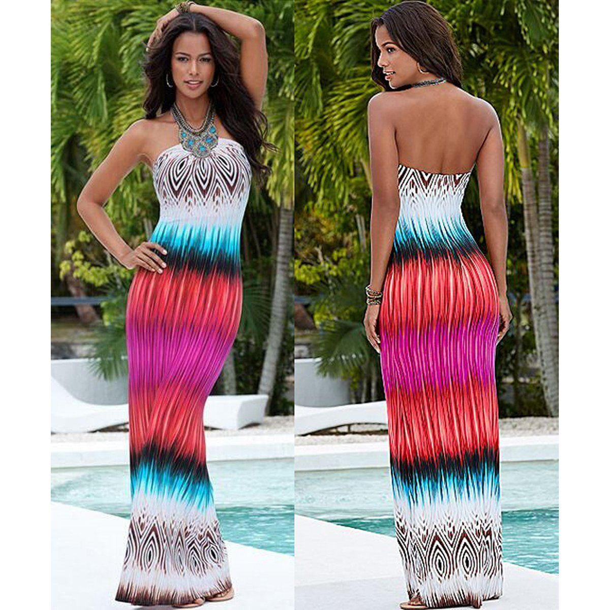 MULTI COLOR DESIGN BOHO BACKLESS MAXI DRESS  bf9def9114