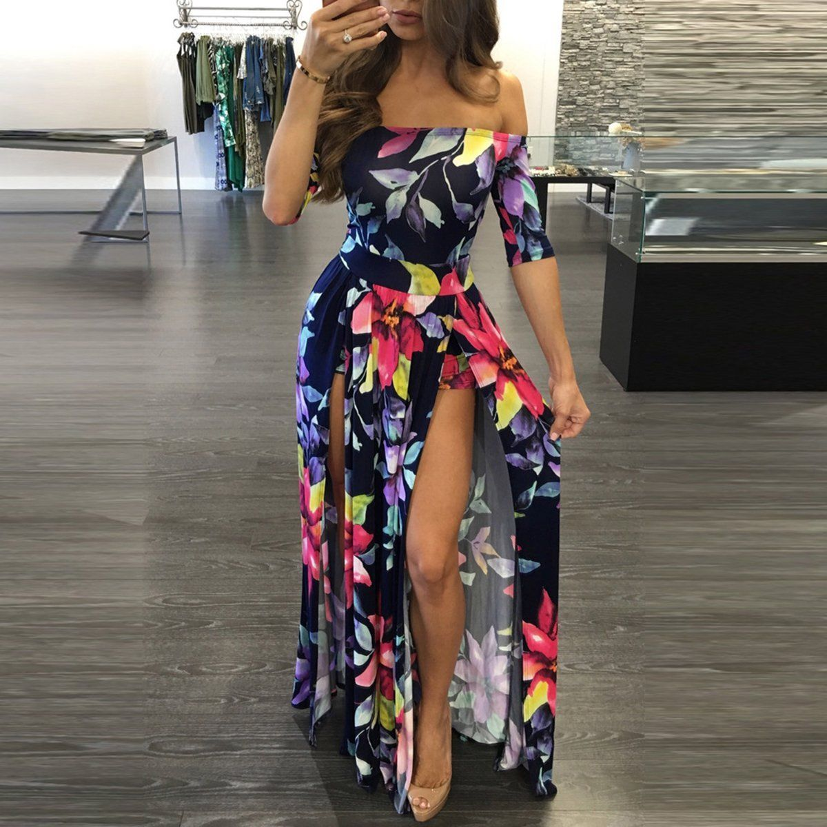 PLUS SIZE FLORAL MULTI COLOR ROMPER DRESS