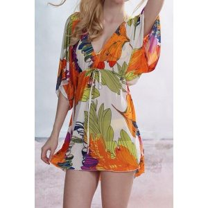 Stylish-V-Neck-Short-Sleeve-Print-Cover-Up-For-Women