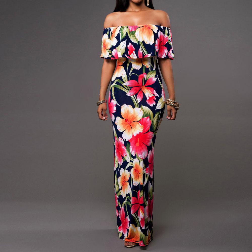 USA Women/'s Off Shoulder Navy Blue Tropical Floral Print Maxi Long Dress   L