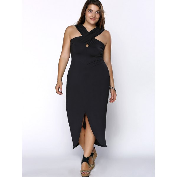 Sexy Criss Cross Halter Asymmetrical Plus Size Dress Addicted2fashion