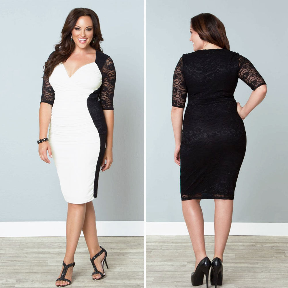 Plus Size Ruched Color Block Lace Mini Dress Sold Out