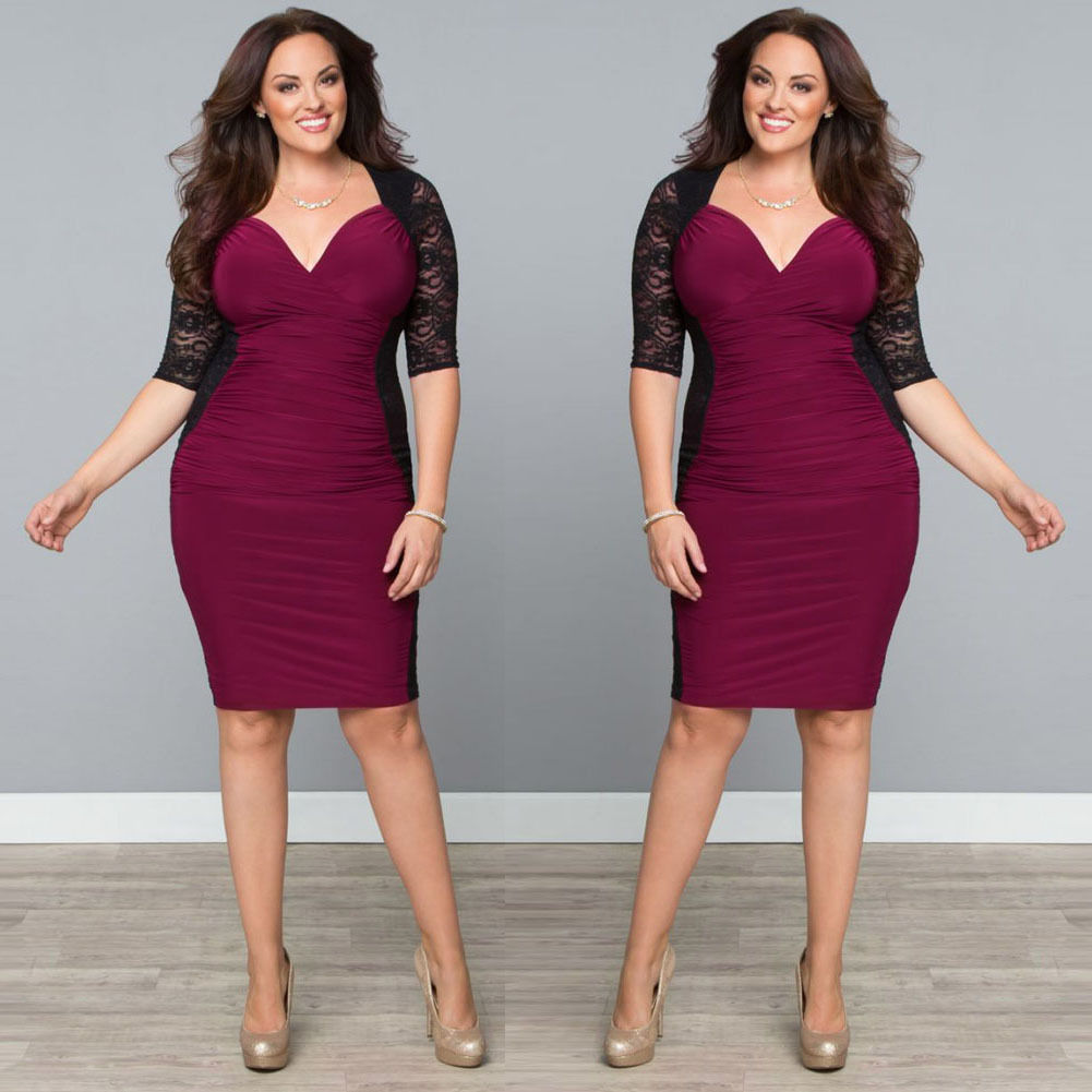 PLUS SIZE RUCHED COLOR BLOCK LACE MINI DRESS *SOLD OUT ...