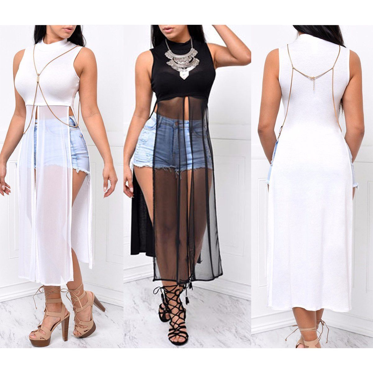 Long Sheer Mesh Tunic Crop Top Plus Size Available