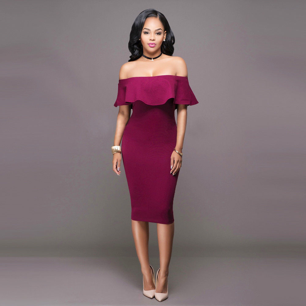 463c84af354a RUFFLE OFF SHOULDER MIDI DRESS