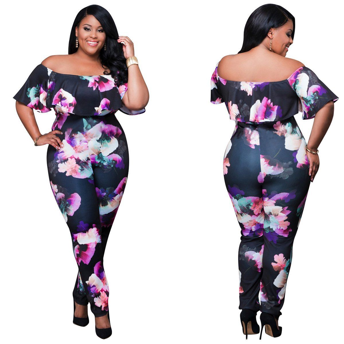 2c90caa9555b ... PLUS SIZE OFF SHOULDER FLORAL PRINT JUMPSUIT Return to Previous Page.  New. lightbox