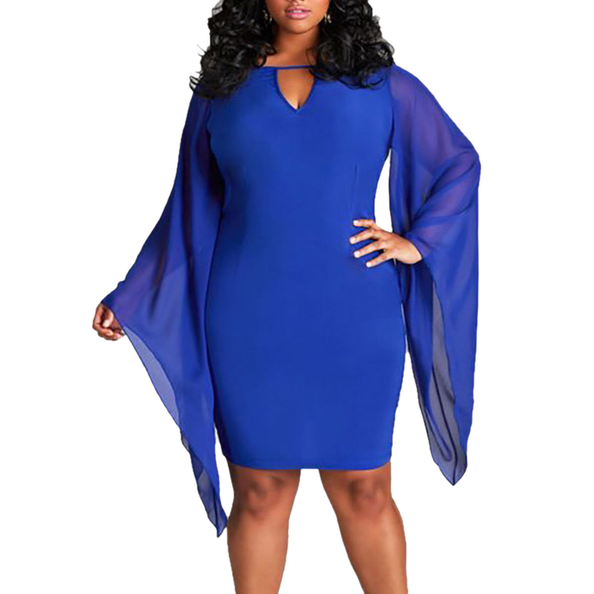 PLUS SIZE DRAPE FLARE SLEEVE MINI DRESS
