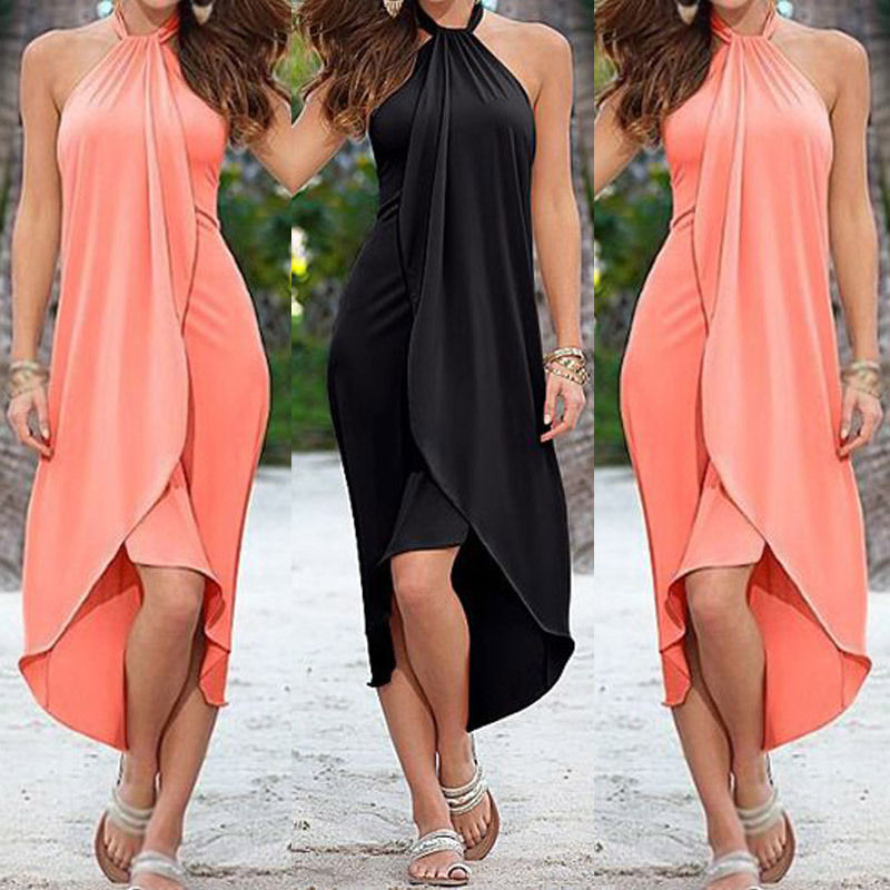 Plus Size Halter Top Draped Asymmetrical Dress Addicted2fashion