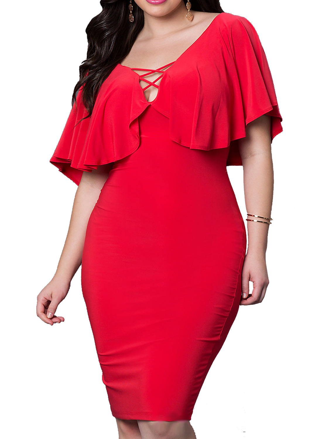 PLUS SIZE RUFFLE FLARE NECKLINE BODYCON MIDI DRESS