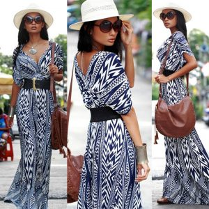 Abstract chiffon maxi dress