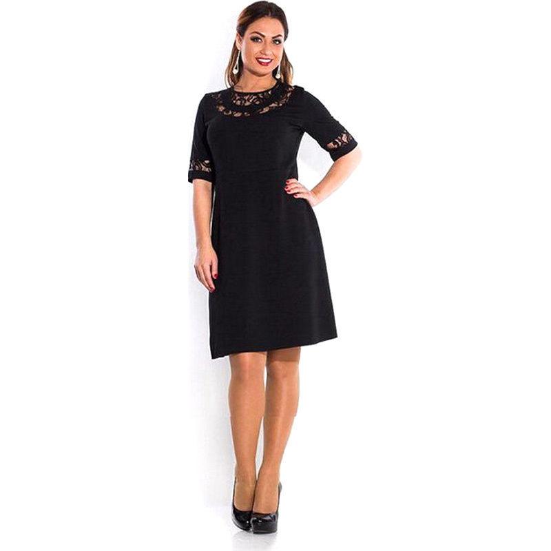 Plus Size Flowing Lace Neckline Dress Addicted2fashion