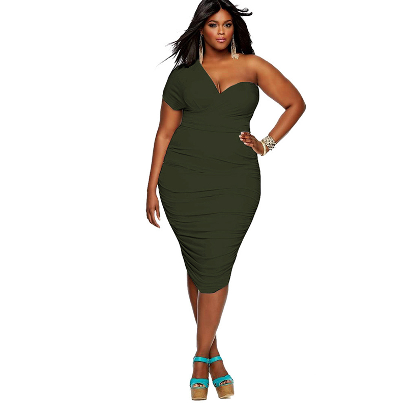 PLUS SIZE ONE SIDE OFF SHOULDER RUCHED MIDI DRESS | ADDICTED2FASHION
