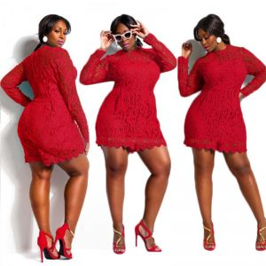 Red lace plus size romper
