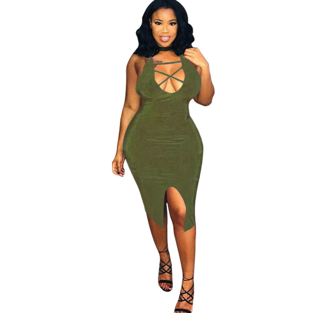 PLUS SIZE CRISSCROSS BODYCON MIDI DRESS