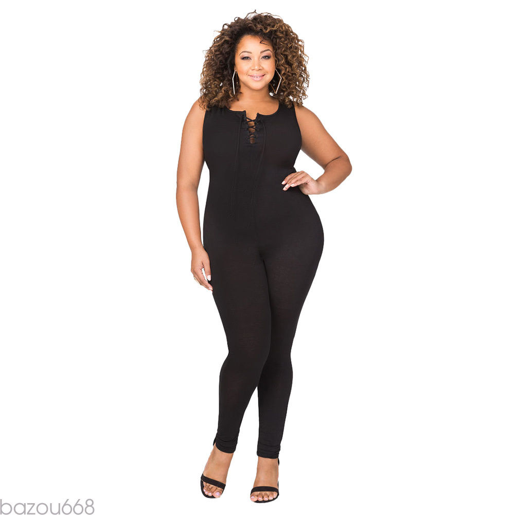 PLUS SIZE SLEEVELESS BODYCON JUMPSUIT | ADDICTED2FASHION