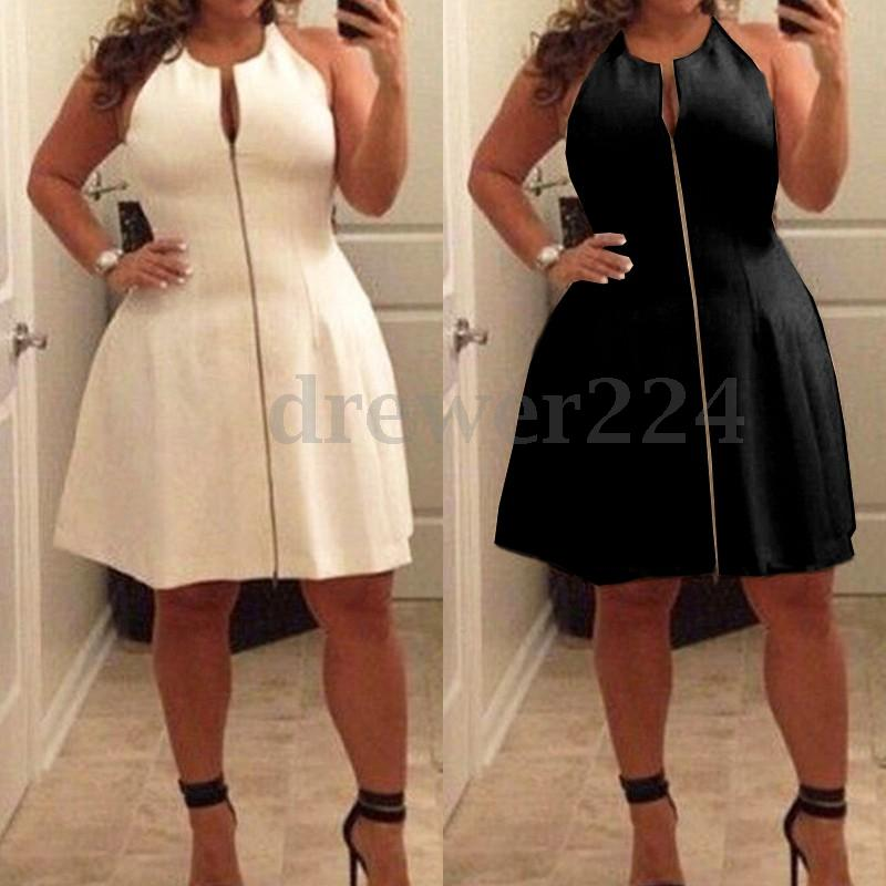 Black & white skater zipper plus size dress | ADDICTED2FASHION