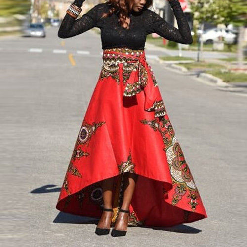 Bright coral african print asymmetrical skirt