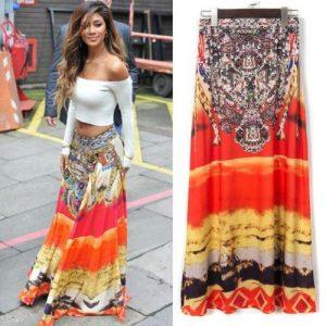 Dashiki Print maxi skirt