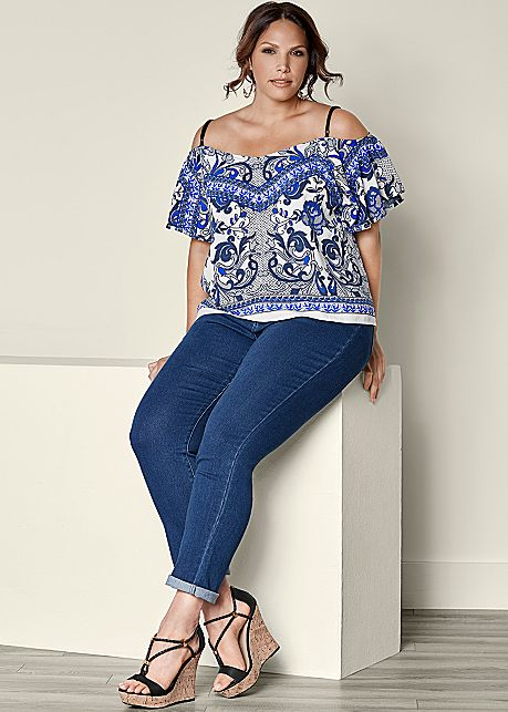 Plus Size Adjustable Strap Printed Off Shoulder Top