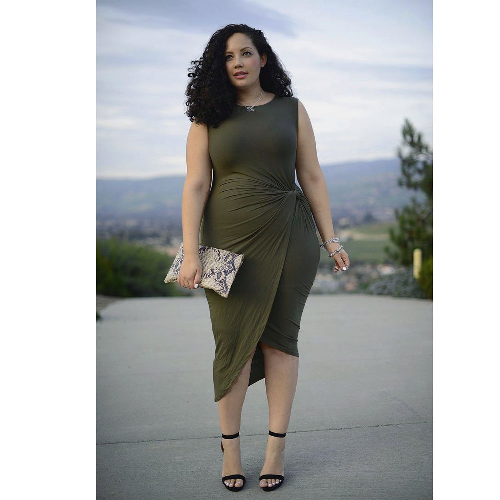 Plus size ruched asymmetrical dress olive green | ADDICTED2FASHION
