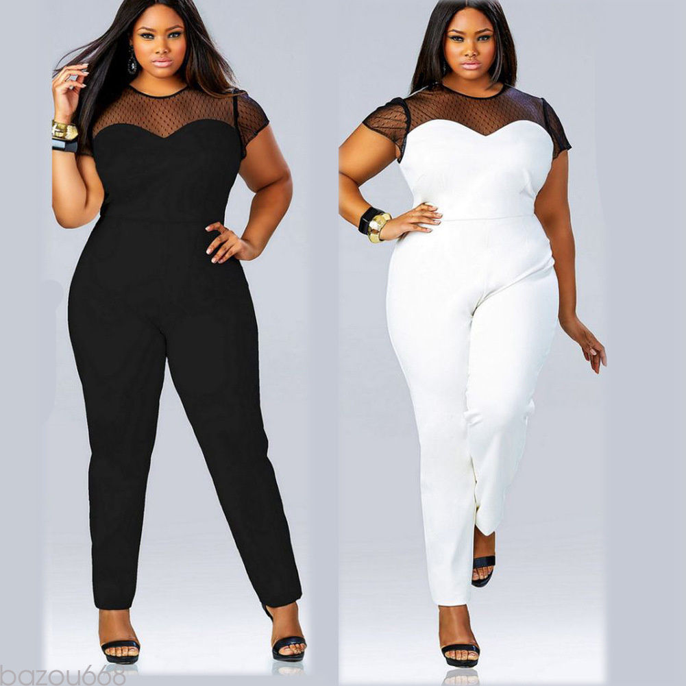 10047801929 Variety Plus size sheer top jumpsuit