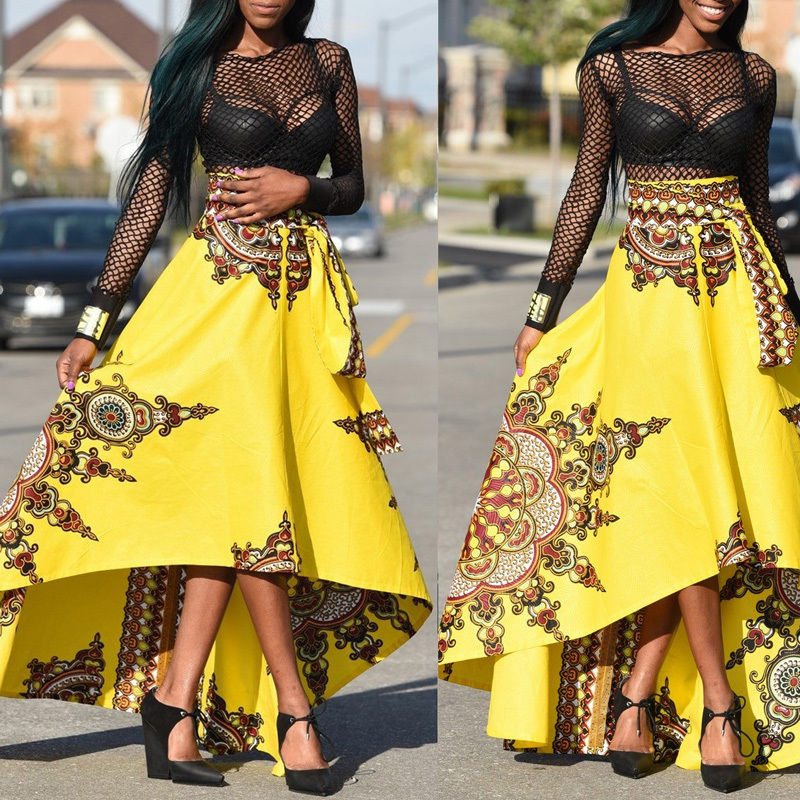 Yellow african print asymmetrical dress