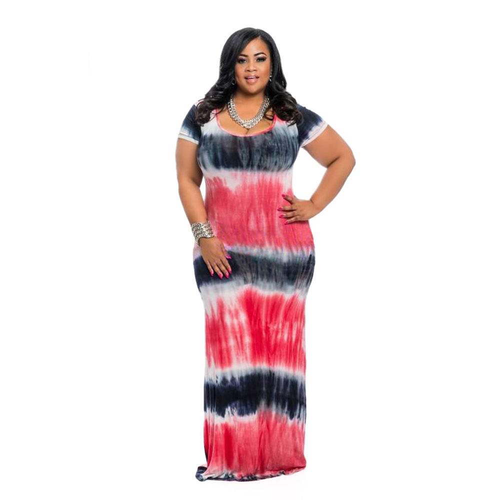 PLUS SIZE TIE DYE MULTI COLOR PRINT MAXI DRESS