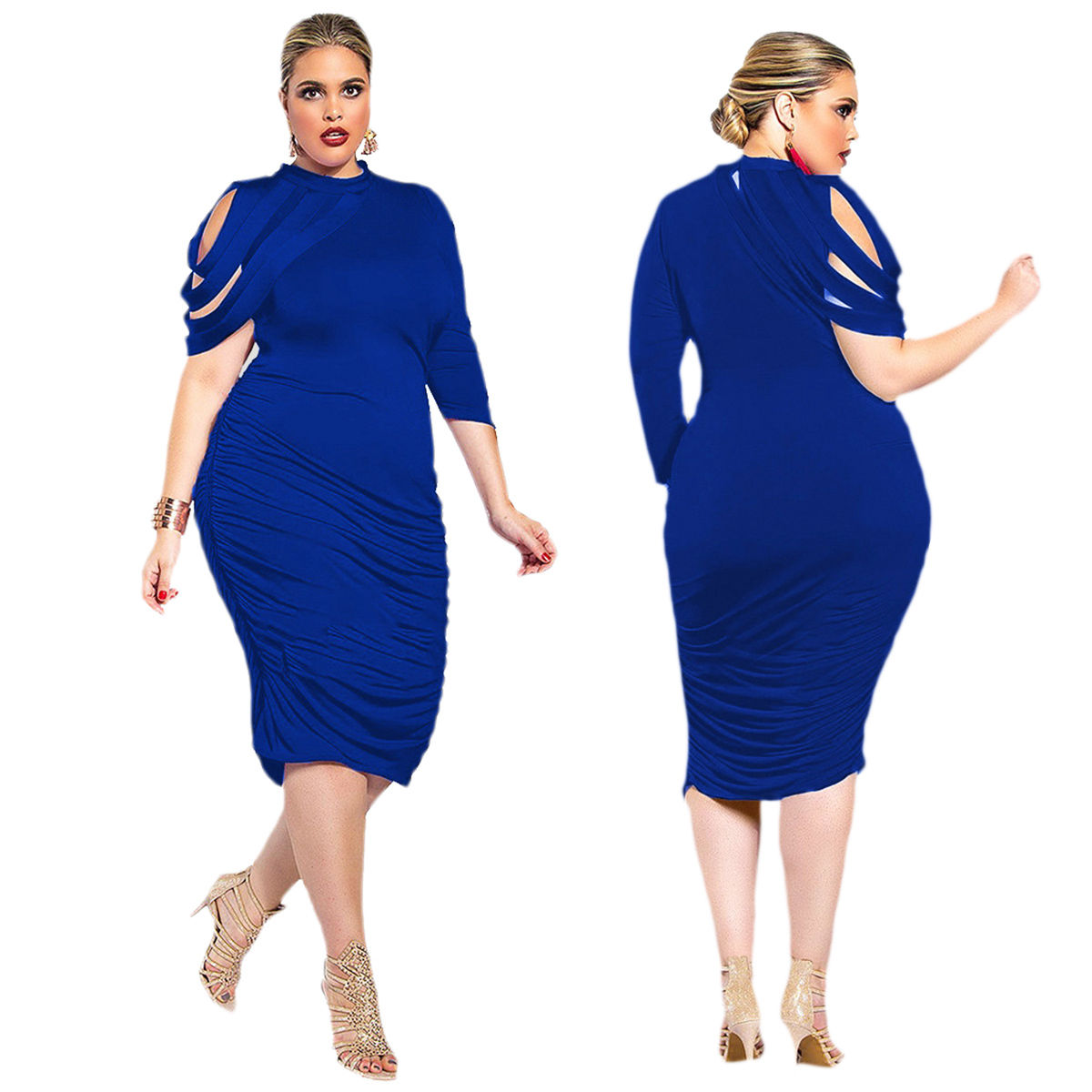 PLUS SIZE SHORT SLEEVE DETAIL RUCHED MIDI DRESS