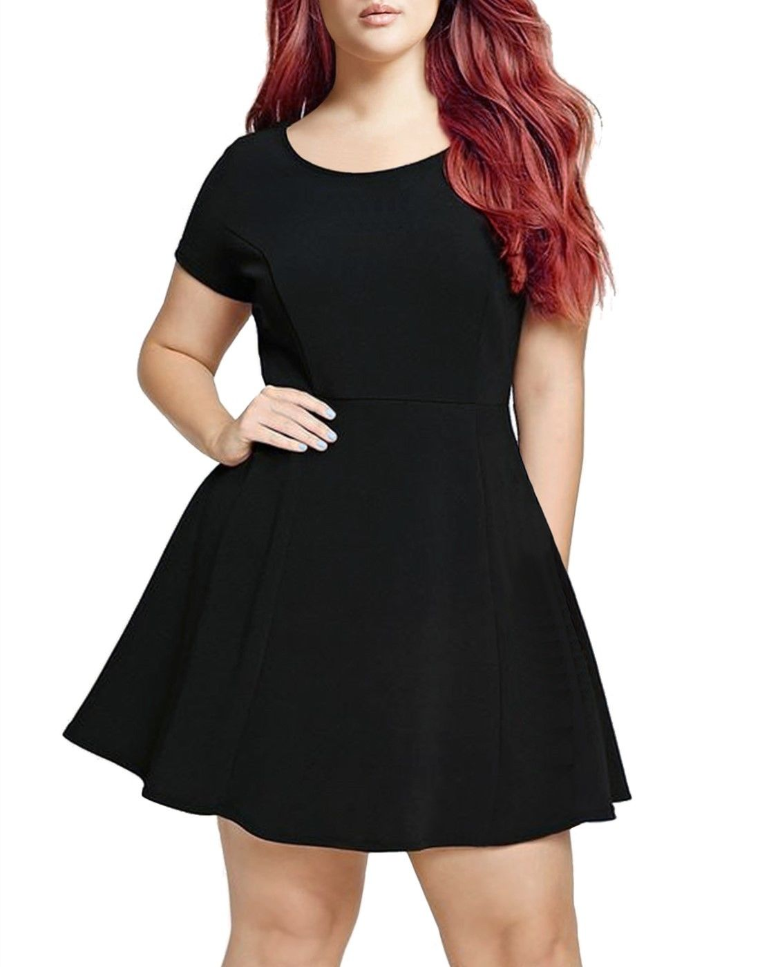 PLUS SIZE FIT AND FLARE SKATER DRESS