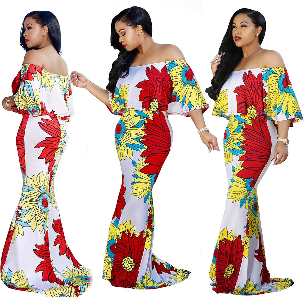 d365045682a0 ... FLORAL OFF SHOULDER RUFFLE MULTI PRINT MAXI DRESS Return to Previous  Page. New. lightbox