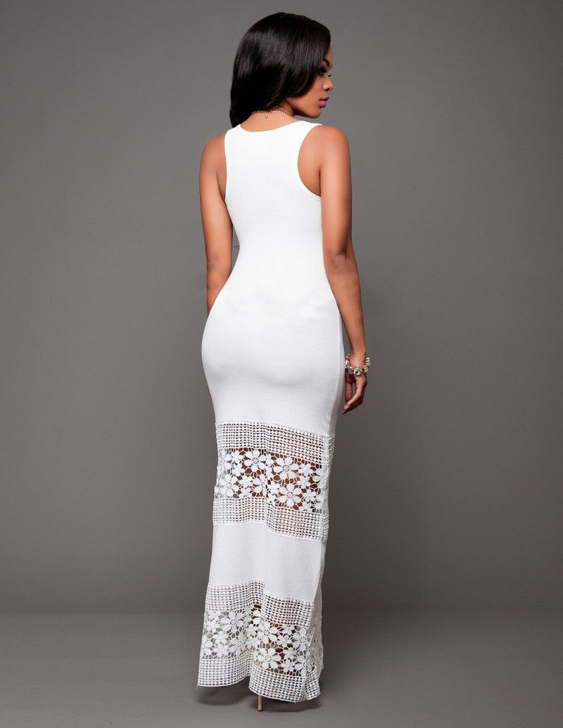sleeveless floral bottom lace design maxi dress