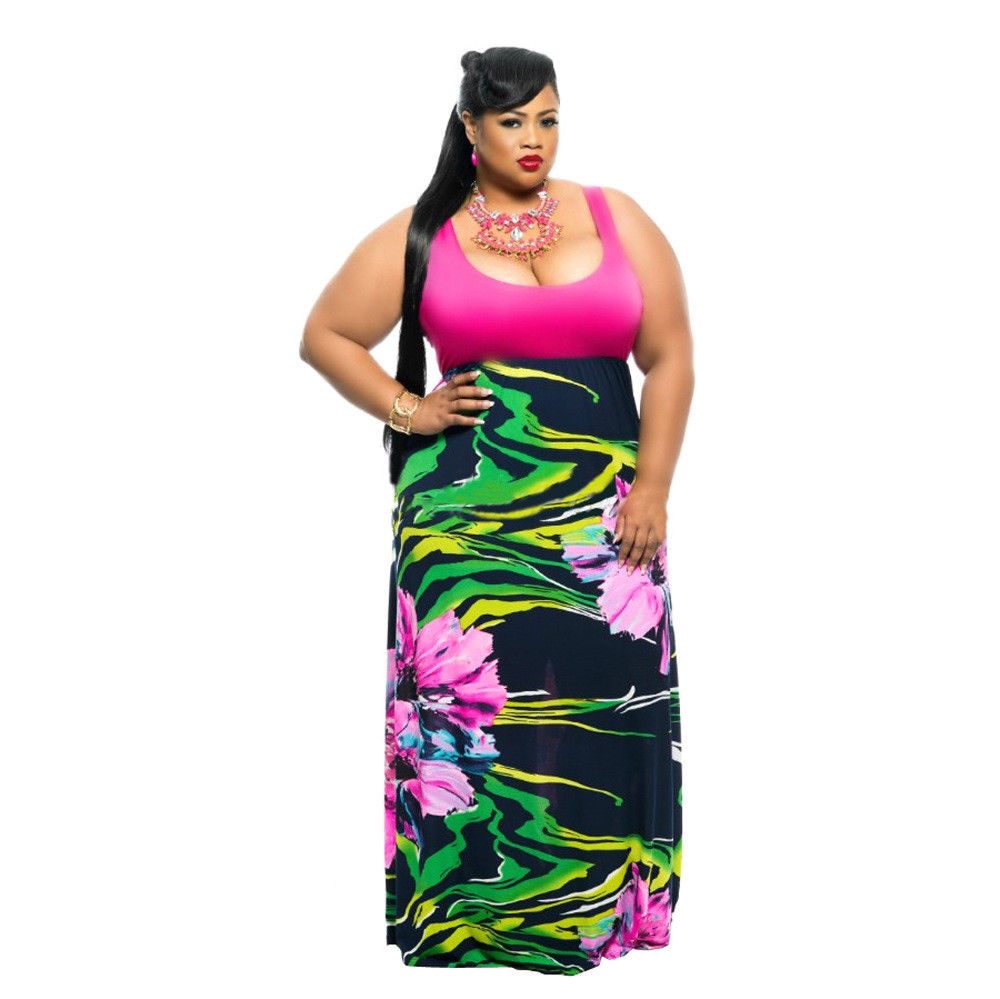 PLUS SIZE FLORAL MULTI PRINT MAXI DRESS
