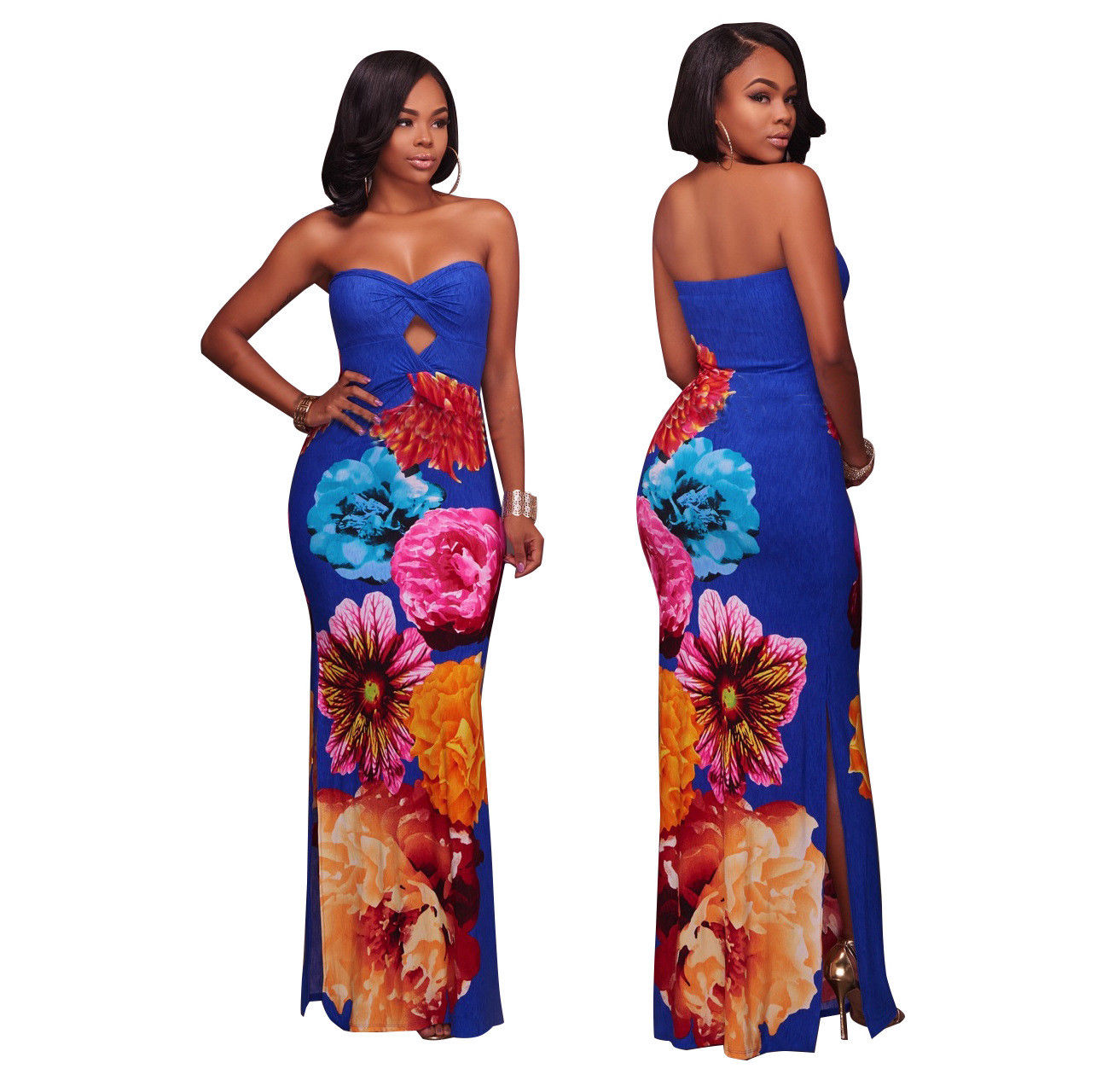 d585d0d9297059 ... PLUS SIZE TUBE TOP FLORAL MULTI PRINT SPLIT MAXI DRESS Return to  Previous Page. New. lightbox