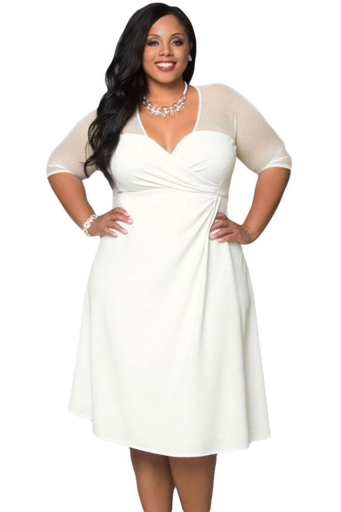 White plus size Sheer top fit & flare dress | ADDICTED2FASHION