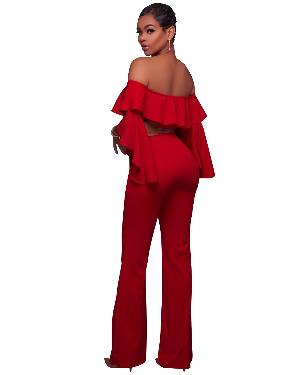74a837e05670 ... OFF SHOULDER RUFFLE BELL SLEEVE JUMPSUIT Return to Previous Page. New.  lightbox · lightbox · lightbox