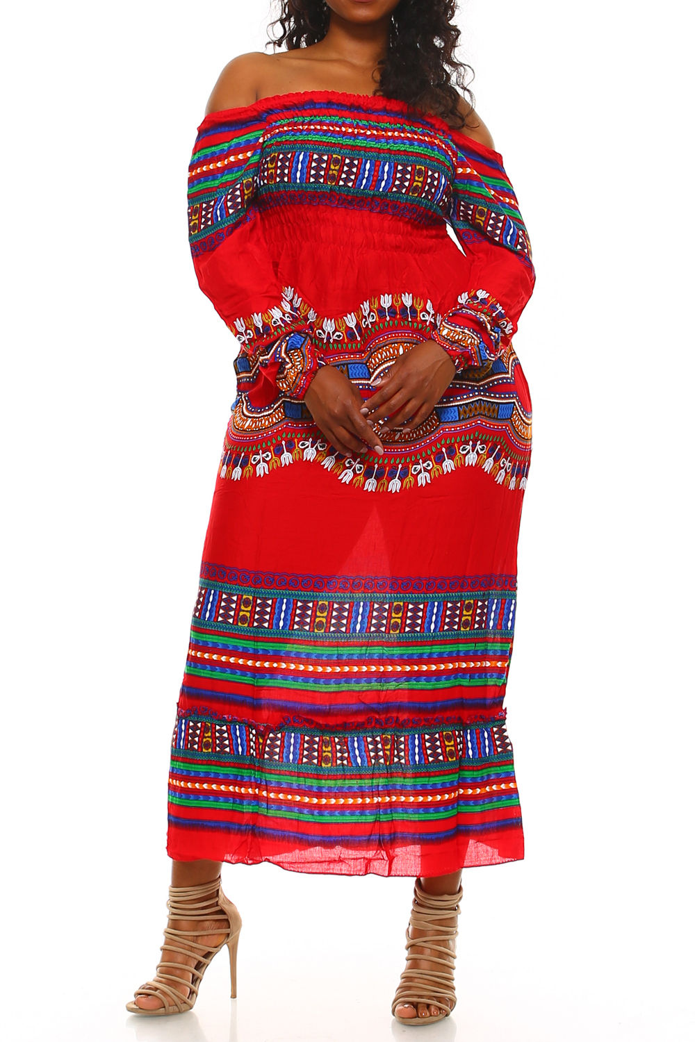 PLUS SIZE OFF SHOULDER DASHIKI PRINT MAXI DRESS | ADDICTED2FASHION