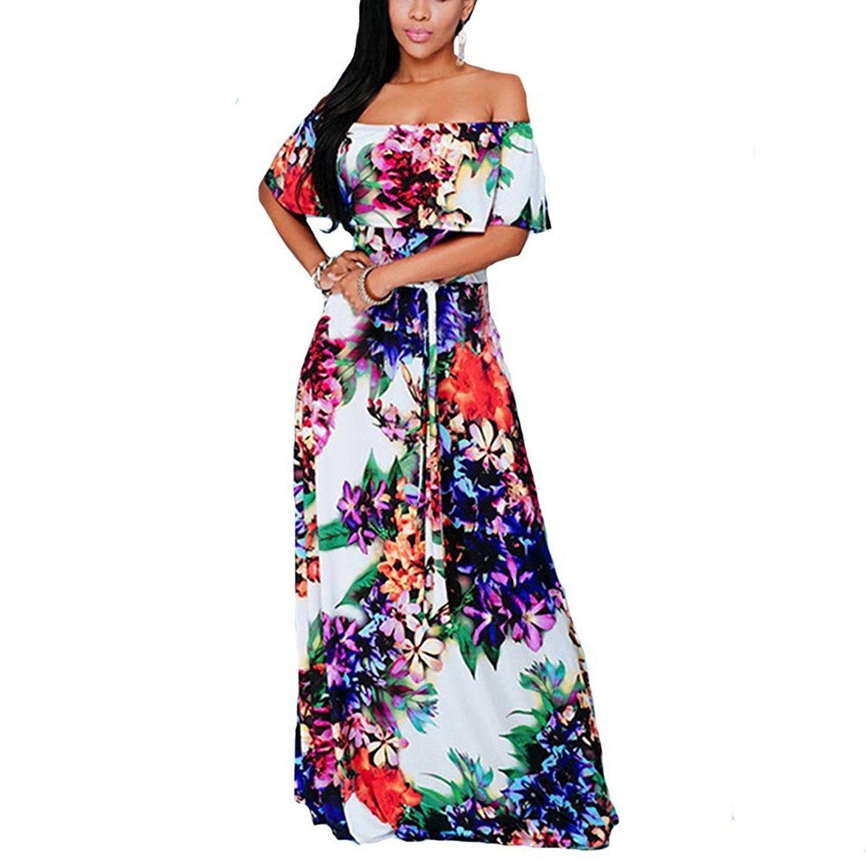 2065f512d492 RUFFLE OFF SHOULDER MAXI FLOWING DRESS