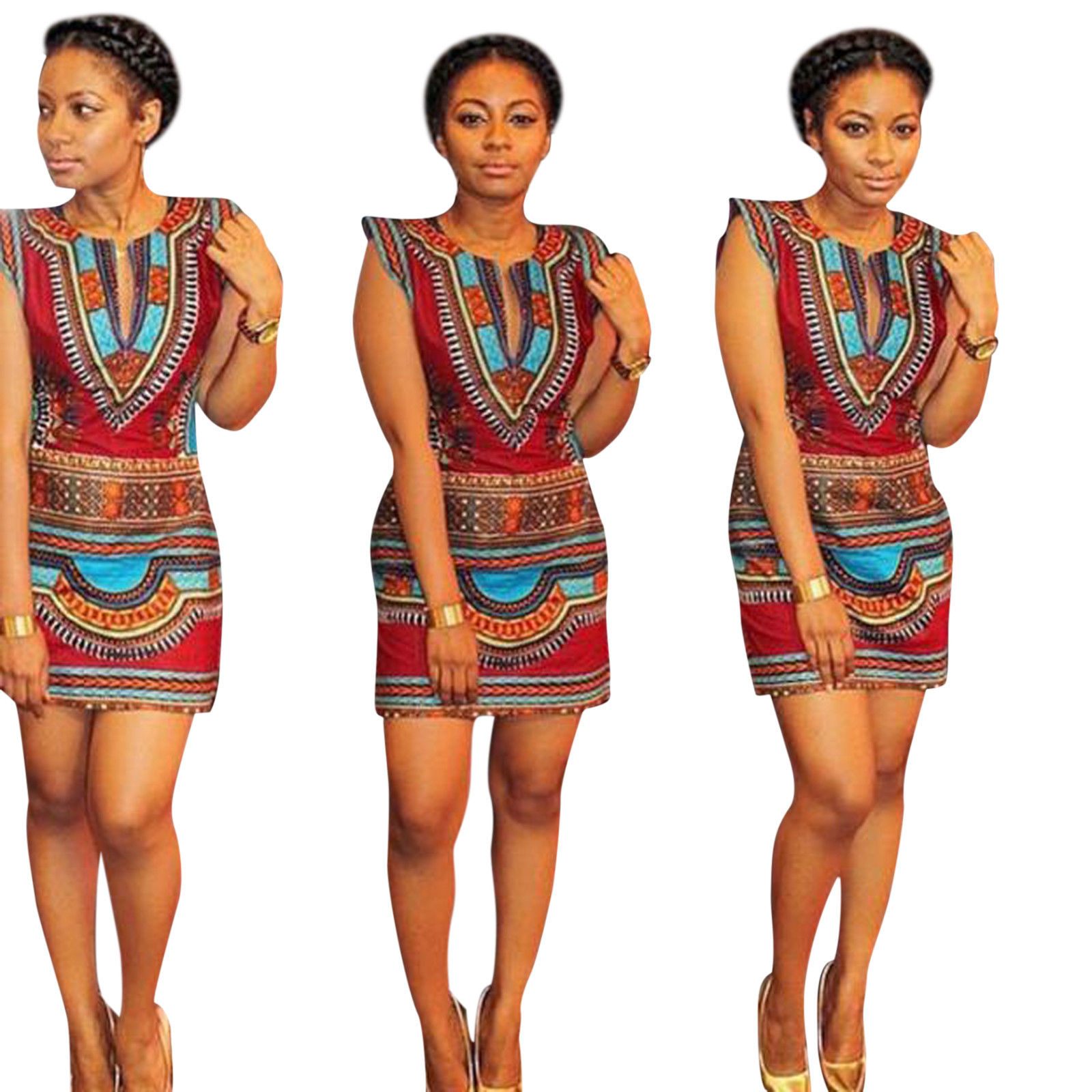 African Print Fashion: AFRICAN DASHIKI PRINT MINI DRESS
