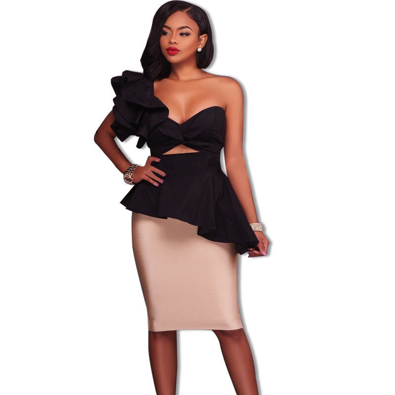 05ede826fb4 RUFFLE ONE SIDE OFF SHOULDER COLOR BLOCK MIDI DRESS | ADDICTED2FASHION