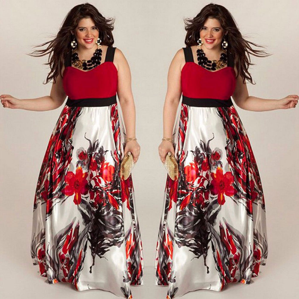 PLUS SIZE FLORAL PRINT FLOWING MAXI DRESS | ADDICTED2FASHION