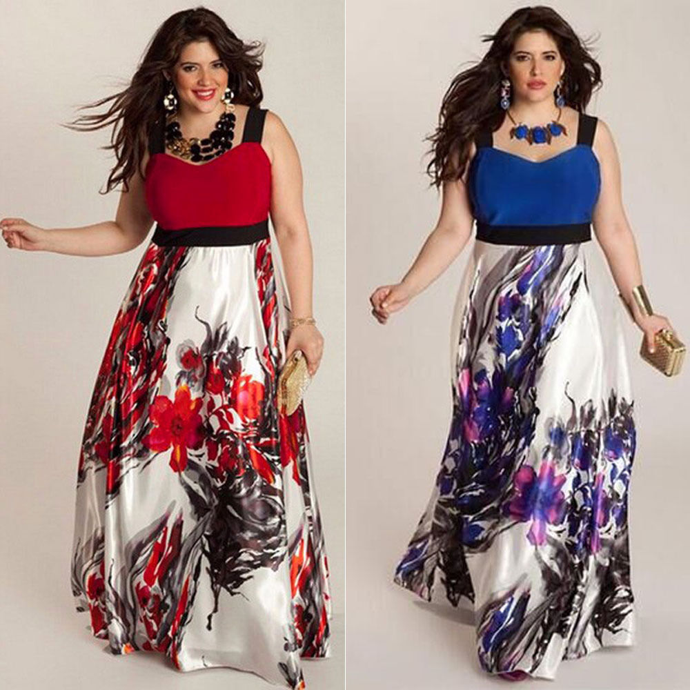PLUS SIZE FLORAL PRINT FLOWING MAXI DRESS