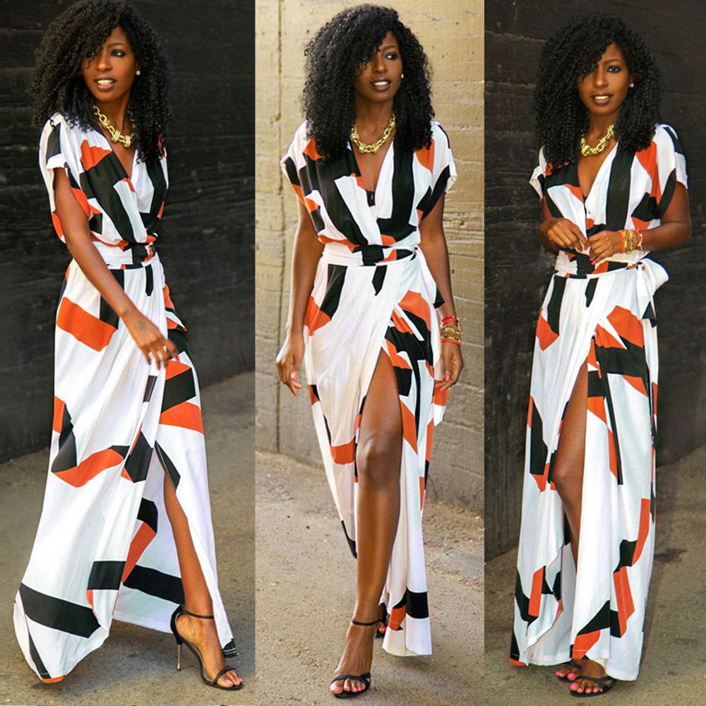 White multi print front split maxi dress