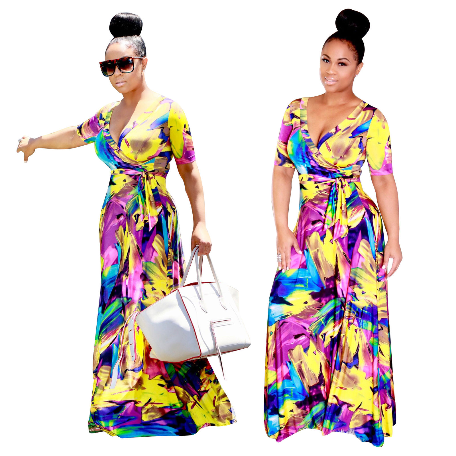Wrap abstract multi print maxi dress