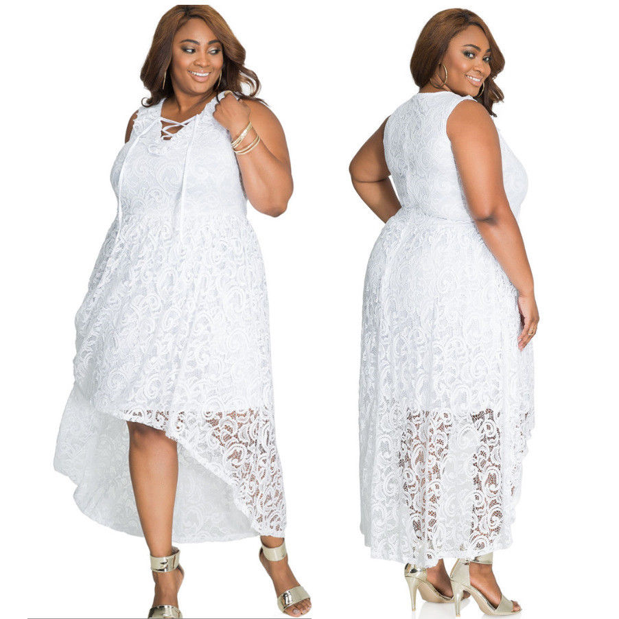 PLUS SIZE ASYMMETRICAL LACE DESIGN DRESS | ADDICTED2FASHION